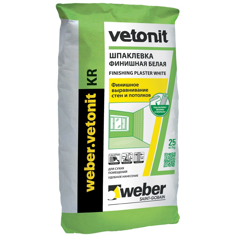 Шпатлевка полимерная Weber-Vetonit KR белый 25 кг