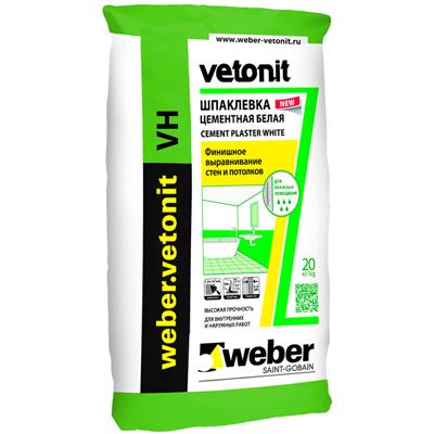 Шпатлевка цементная Weber-Vetonit VH белый 20 кг