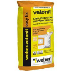 Клей для плитки и керамогранита Weber-Vetonit easy fix 25 кг