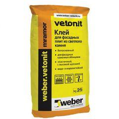 Клей для фасадных плит Weber-Vetonit mramor белый 25 кг