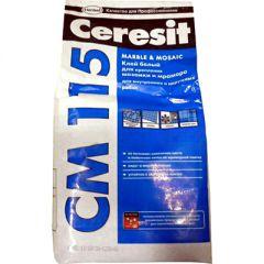 Клей для мозаики и мрамора Ceresit CM 115 белый 5 кг
