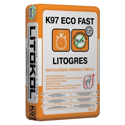 Беспылевая клеевая смесь Litokol Litogres K97 eco Fast 25 кг
