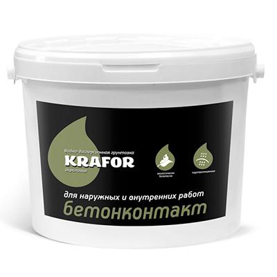 Грунтовка акриловая Krafor водно-дисперсионная Бетоноконтакт 3 л