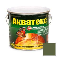 Защитно-декоративное покрытие Акватекс для древесины еловая зелень 3 л