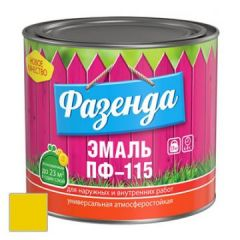 Эмаль Ленинградские краски ПФ-115 Фазенда желтая 20 кг
