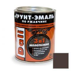 Грунт-эмаль Dali по ржавчине 3 в 1 молотковая коричневая 2 л