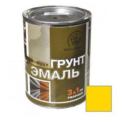 Грунт-эмаль РадугаМалер по ржавчине 3 в 1 для металла Желтый 0,9 кг