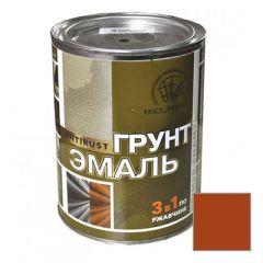 Грунт-эмаль РадугаМалер по ржавчине 3 в 1 для металла Коричневый 0,9 кг