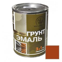 Грунт-эмаль РадугаМалер по ржавчине 3 в 1 для металла Коричневый 1,9 кг