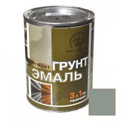 Грунт-эмаль РадугаМалер по ржавчине 3 в 1 для металла Серый 0,9 кг