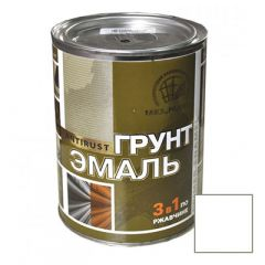 Грунт-эмаль РадугаМалер по ржавчине 3 в 1 для металла Белый 1,9 кг