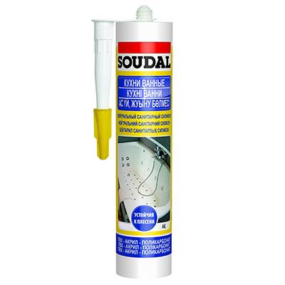 Герметик силикон Soudal санитарный прозрачный 300 мл