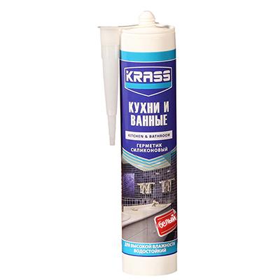 Герметик силиконовый Krass для кухни и ванны белый 300 мл