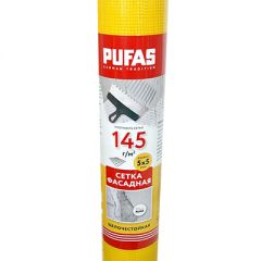 Сетка фасадная Pufas 1х30 м 5х5 мм 145 г/м2 30 м2 желтая