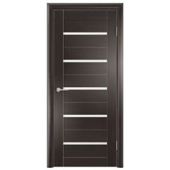 Дверь Содружество цагровая ПВХ S1 Темный орех рифленый 1,90x0,55 м