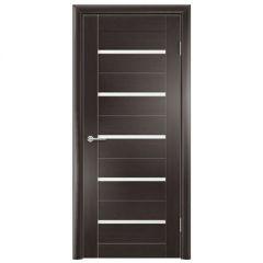 Дверь Содружество цагровая ПВХ S1 Темный орех рифленый 1,90x0,60 м