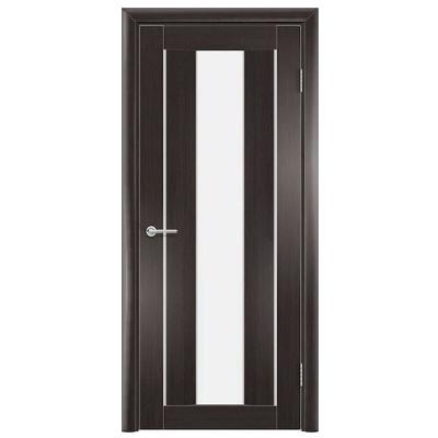 Дверь Содружество цагровая ПВХ S12 Темный орех рифленый 2,00x0,90 м