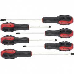 Набор ударных отверток PH1x75, PH2x100, PH3x150, SL5x75, SL6x100, SL8x150 мм, 6 шт, Matrix, 19120