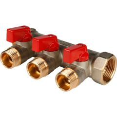 Коллектор никелированный красный Stout 3/4 на 1/2 дюйма 3 (SMB 6200 341203 )