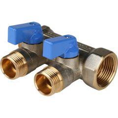 Коллектор никелированный синий Stout 3/4 на 1/2 дюйма 2 (SMB 6201 341202)