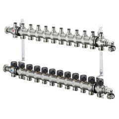 Блок коллекторный Oventrop Multidis SF с вентильными вставками 12 выходов (1405562)
