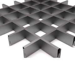 Потолок грильято Fineber Стандарт 100х100х40х10 мм Металлик м2