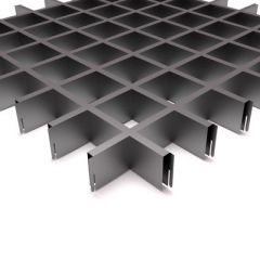 Потолок грильято Fineber Стандарт 75х75х40х10 мм Металлик м2