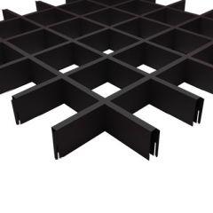 Потолок грильято Fineber Стандарт 100х100х40х10 мм Черный м2