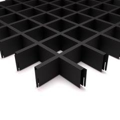 Потолок грильято Fineber Стандарт 75х75х40х10 мм Черный м2