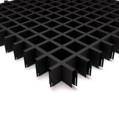 Потолок грильято Fineber Стандарт 50х50х40х10 мм Черный м2