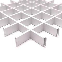 Потолок грильято Fineber Стандарт 100х100х40х10 мм Белый м2