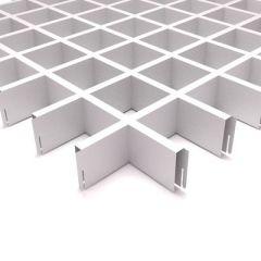Потолок грильято Fineber Стандарт 75х75х40х10 мм Белый м2