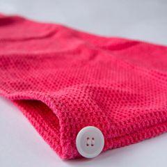 Тюрбан (вафельный) для сушки волос цвет красный 60 х 24 см (11152-2)