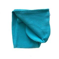 Тюрбан (вафельный) для сушки волос цвет синий 60 х 24 см (11152-1)