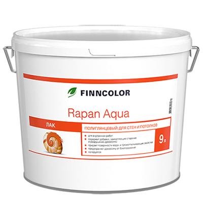 Антисептирующий водоразбавляемый лак Finncolor Rapan aqua для стен и потолков полуглянцевый 9 л