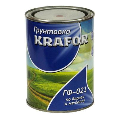 Грунтовка адгезионная Krafor ГФ-021 по дереву и металлу серая 0,8 кг