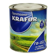 Грунтовка адгезионная Krafor ГФ-021 по дереву и металлу красно-коричневая 1,8 кг