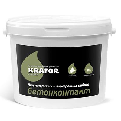Грунтовка акриловая Krafor водно-дисперсионная Бетоноконтакт 6 л