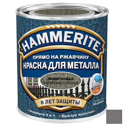 Краска по ржавчине Hammerite Hammered молотковая Серебристо-серая 0,75 л