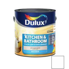 Краска Dulux Kitchens & Bathroom белая матовая 2,5 л