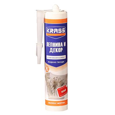 Жидкие гвозди Krass Экспресс монтаж для стиропора и панелей белый 300 мл